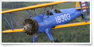Matt Quy flies the Tuskegee Stearman