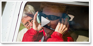 AOPA Member Services representative Joyce Kline takes her first flight
