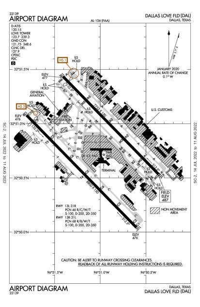 KDAL (Dallas Love Field) airport diagram
