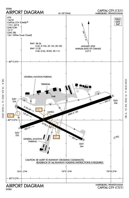 CXY (Capital City) airport diagram