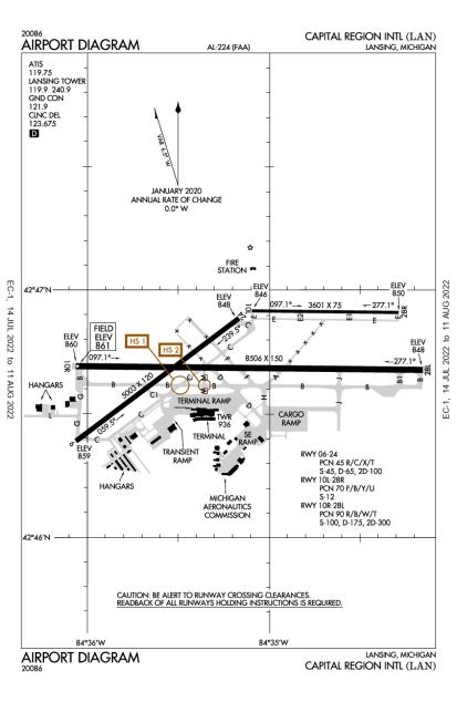 LAN (Capital Region International) airport diagram