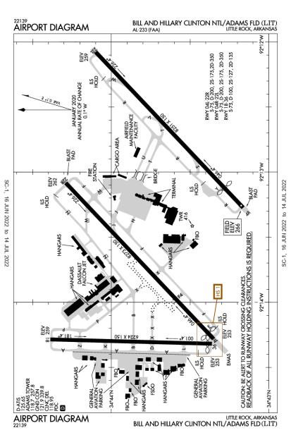 KLIT (Bill and Hillary Clinton National/Adams Field) airport diagram