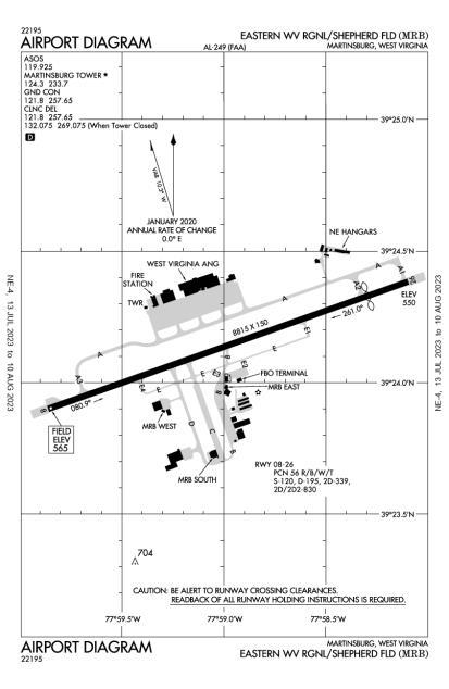 KMRB (Eastern Wv Regional/Shepherd Field) airport diagram