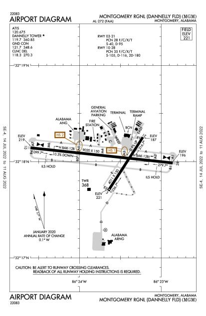 MGM (Montgomery Regional (Dannelly Field)) airport diagram