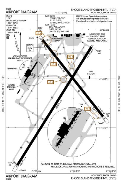 KPVD (Theodore Francis Green State) airport diagram