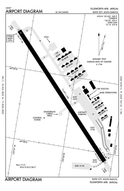 KRCA (Ellsworth Air Force Base) airport diagram