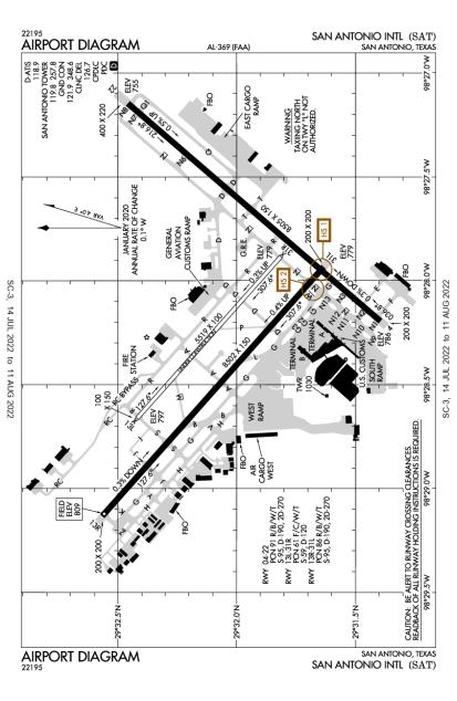 SAT (San Antonio International) airport diagram
