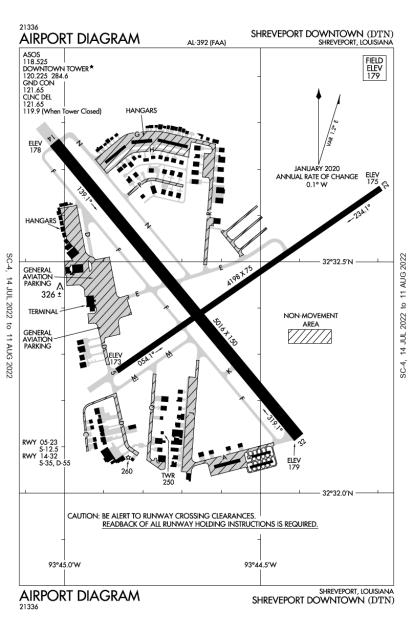 KDTN (Shreveport Downtown) airport diagram