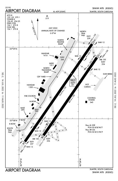 KSSC (Shaw Air Force Base) airport diagram