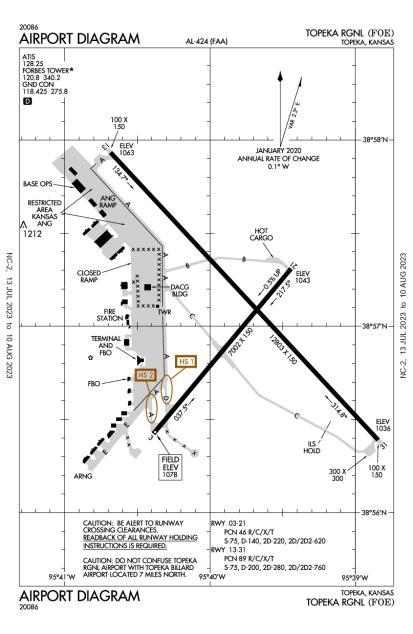 KFOE (Topeka Regional) airport diagram