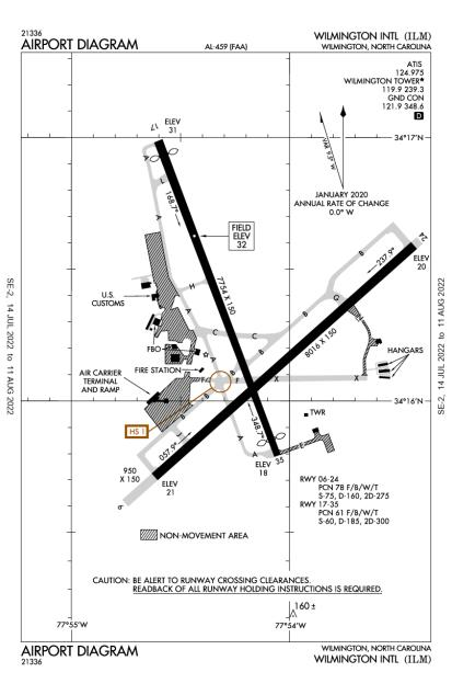 KILM (Wilmington International) airport diagram