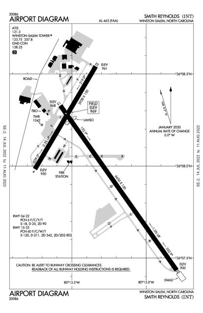 KINT (Smith Reynolds) airport diagram