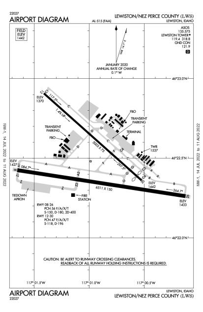 LWS (Lewiston-Nez Perce County) airport diagram