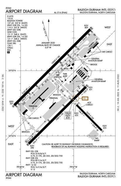 KRDU (Raleigh-Durham International) airport diagram