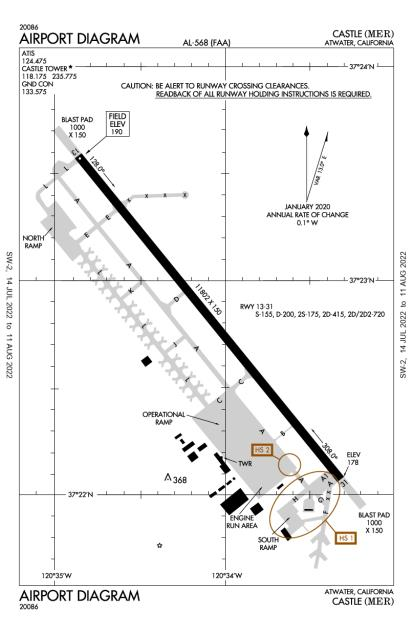 KMER (Castle) airport diagram