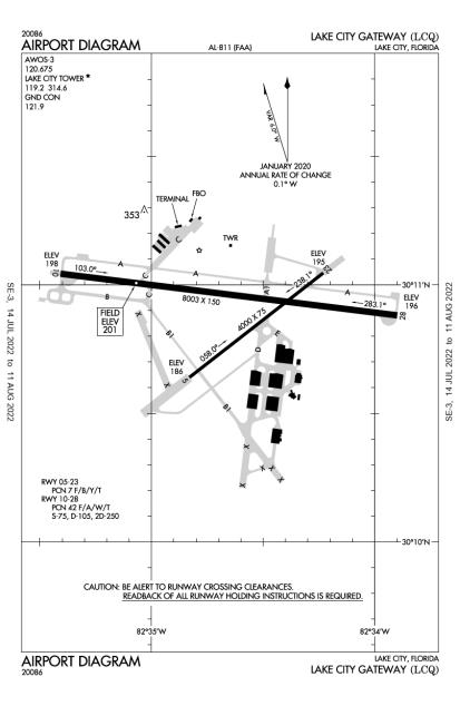 KLCQ (Lake City Gateway) airport diagram