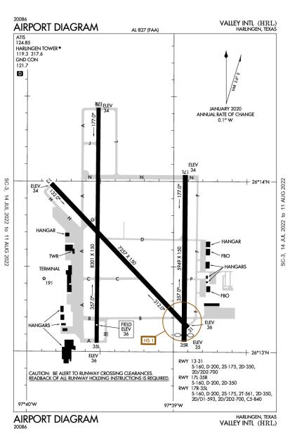 KHRL (Valley International) airport diagram