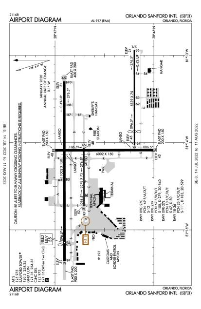 KSFB (Orlando Sanford International) airport diagram