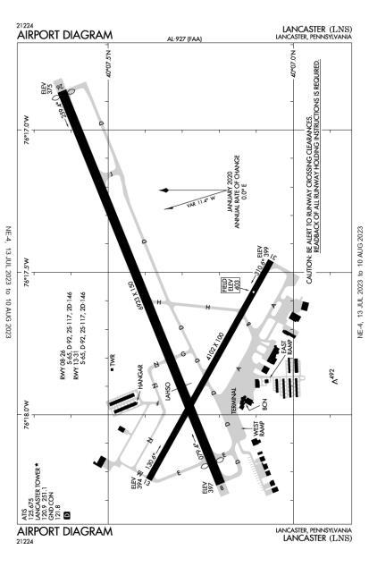 LNS (Lancaster) airport diagram
