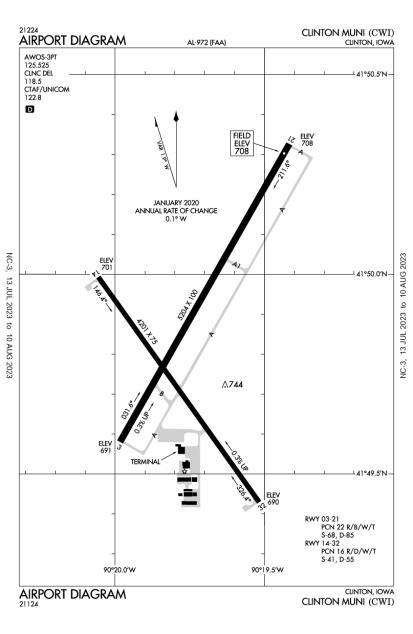 KCWI (Clinton Municipal) airport diagram