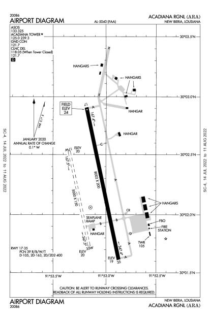 ARA (Acadiana Regional) airport diagram