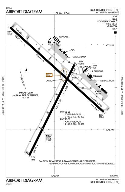 RST (Rochester International) airport diagram