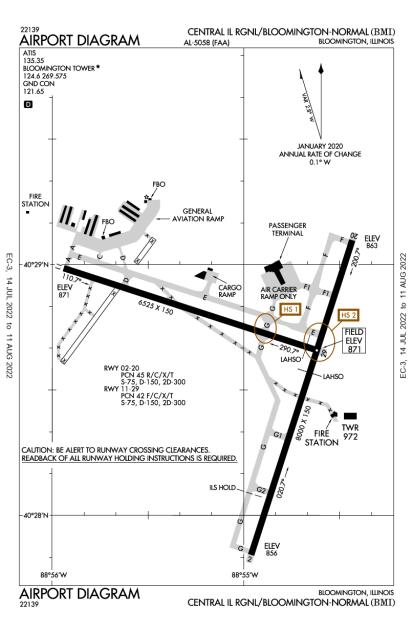KBMI (Central Il Regional Airport At Bloomington-Normal) airport diagram