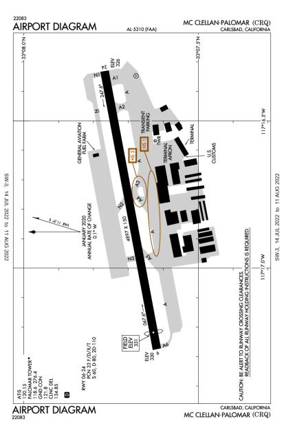 KCRQ (Mc Clellan-Palomar) airport diagram