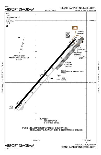 KGCN (Grand Canyon National Park) airport diagram