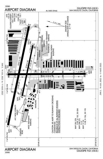 KSEE (Gillespie Field) airport diagram