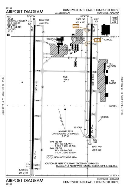 KHSV (Huntsville International-Carl T Jones Field) airport diagram