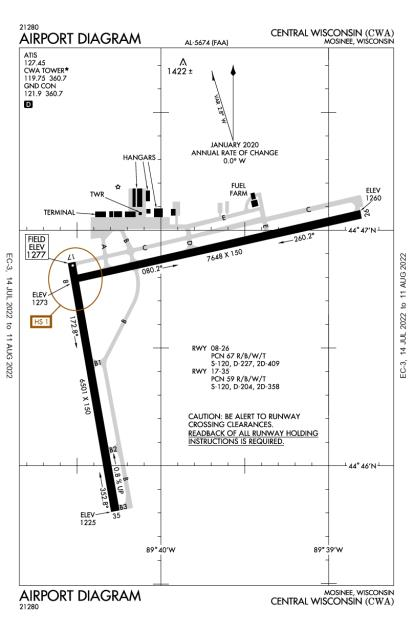 KCWA (Central Wisconsin) airport diagram