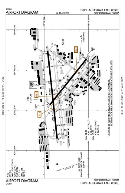 FXE (Fort Lauderdale Executive) airport diagram