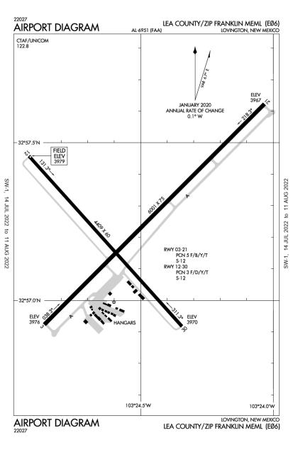 E06 (Lea County-Zip Franklin Memorial) airport diagram